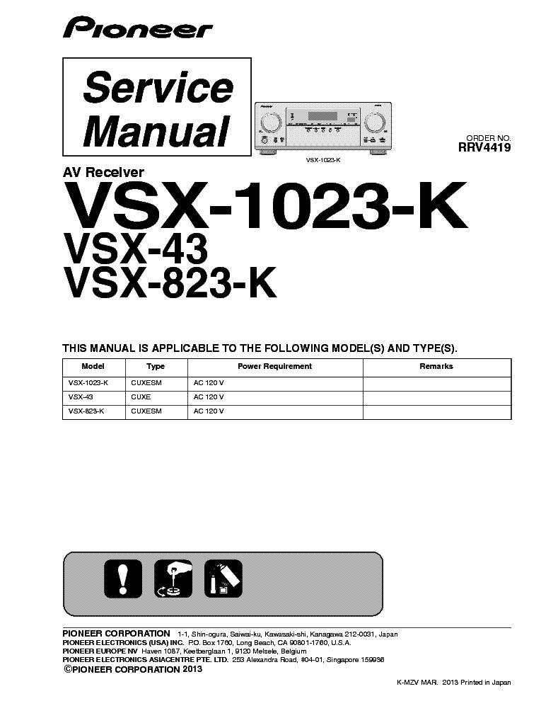 Pioneer vsx 43 manual