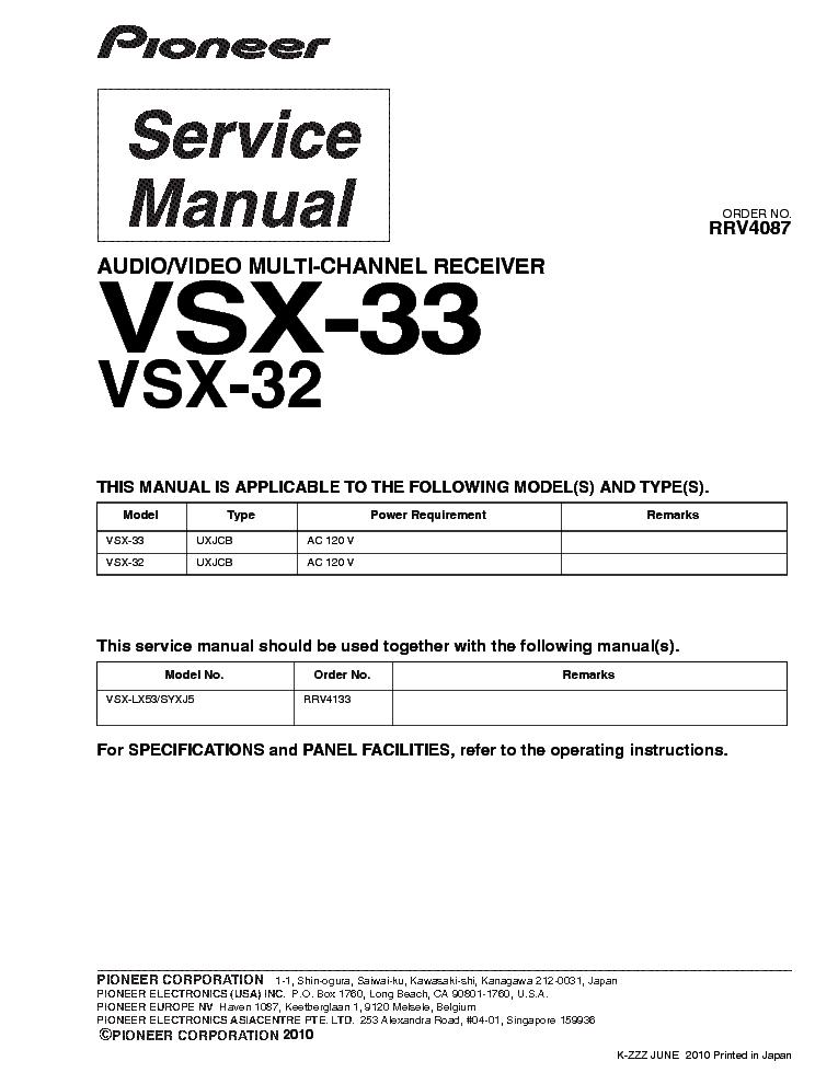pioneer vsx 32 33 service manual download schematics eeprom rh elektrotanya com Pioneer VSX 321 Manual Pioneer VSX-1021-K