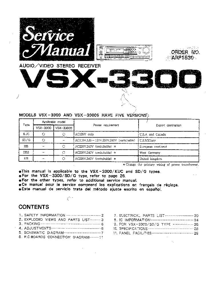 PIONEER VSX-3300 service manual (1st page)