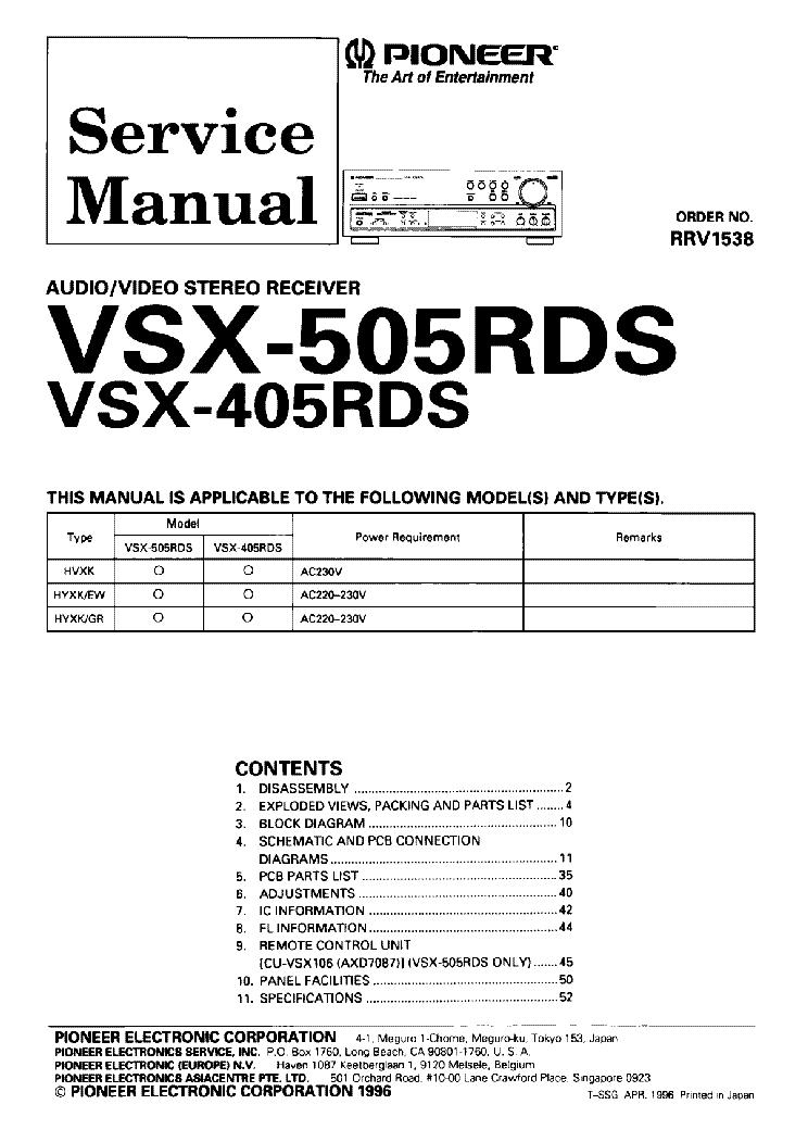 PIONEER VSX-405RDS 505RDS SM service manual