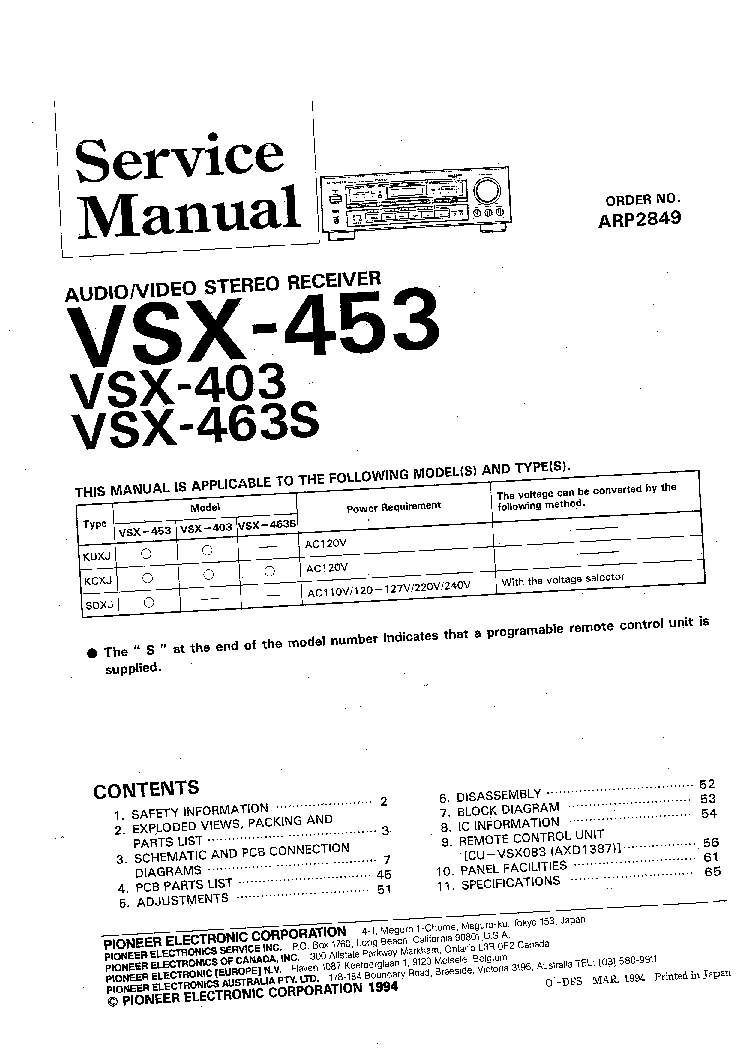 pioneer vsx 453 vsx 403 vsx 463s service manual download schematics rh elektrotanya com Erin Heatherton VSX pioneer vsx-453 service manual