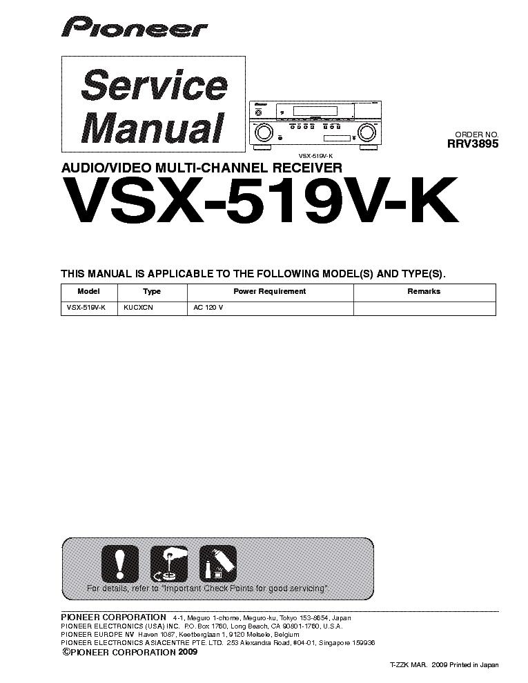 Vsx-819h-k(-s), vsx-519v-k(-s) | pioneer ev50dvd user manual.