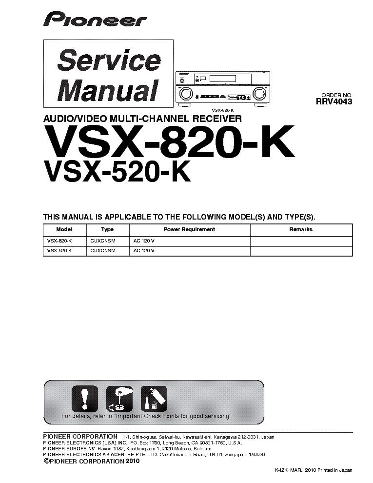 pioneer vsx 520 k vsx 820 k sm service manual download schematics rh elektrotanya com Pioneer VSX 520 Troubleshooting Pioneer 5.1 Receiver Manual
