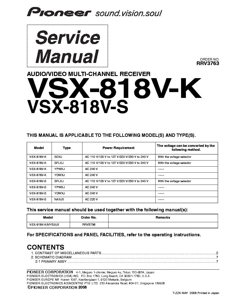 инструкция vsx-818v