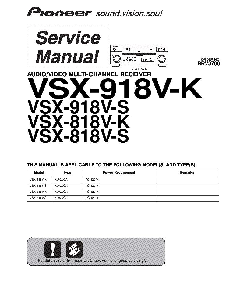 pioneer vsx 818v 918v k s sm service manual download schematics