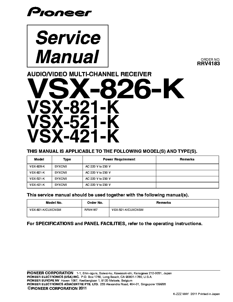 Pioneer vsx 821 k инструкция