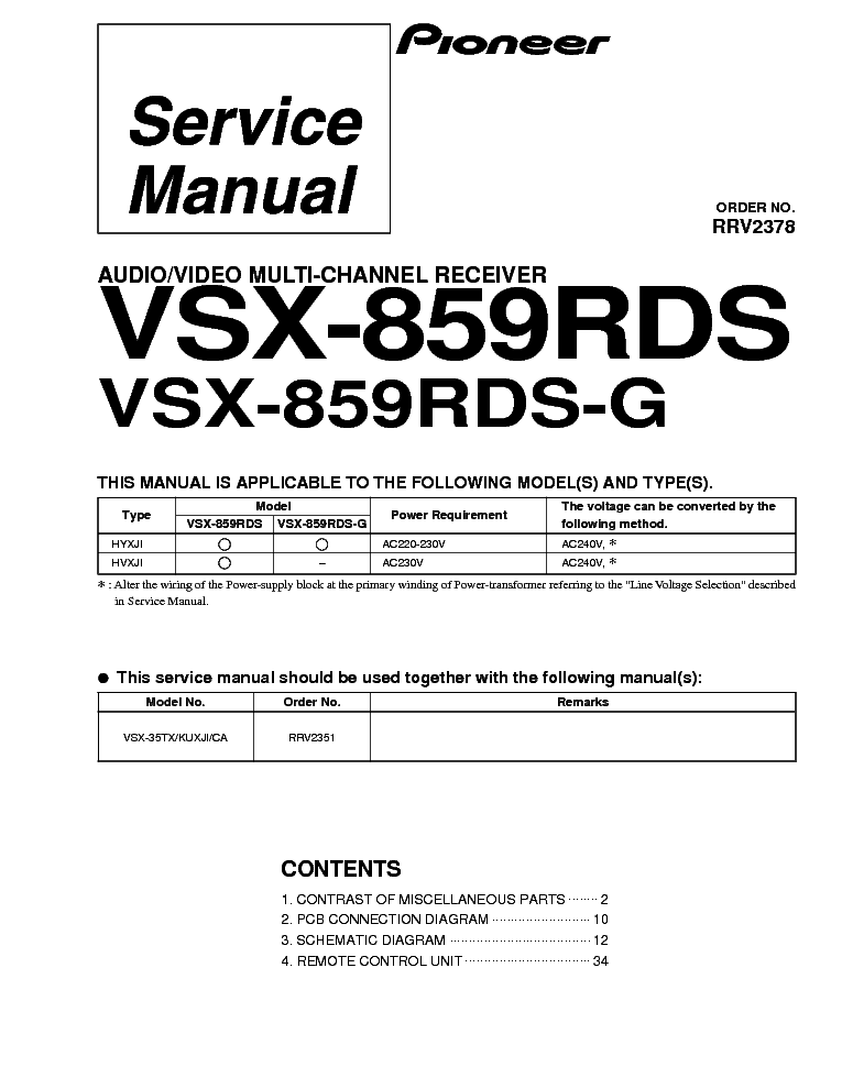 PIONEER VSX-859RDS SM service manual (1st page)