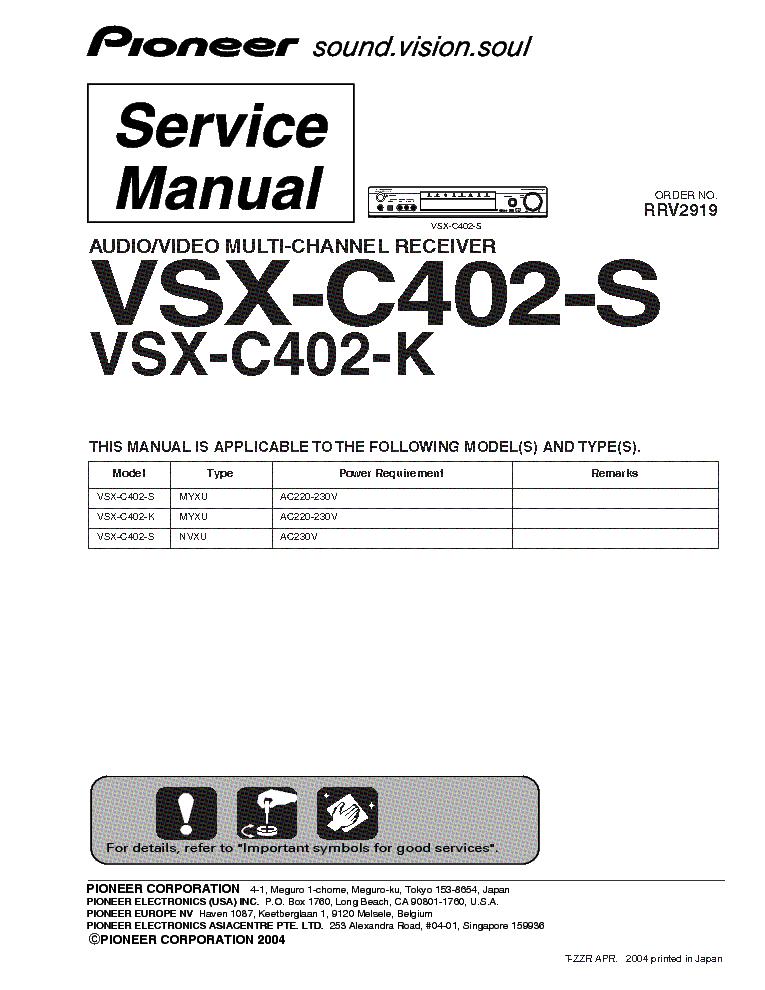 инструкция pioneer vsx-c402