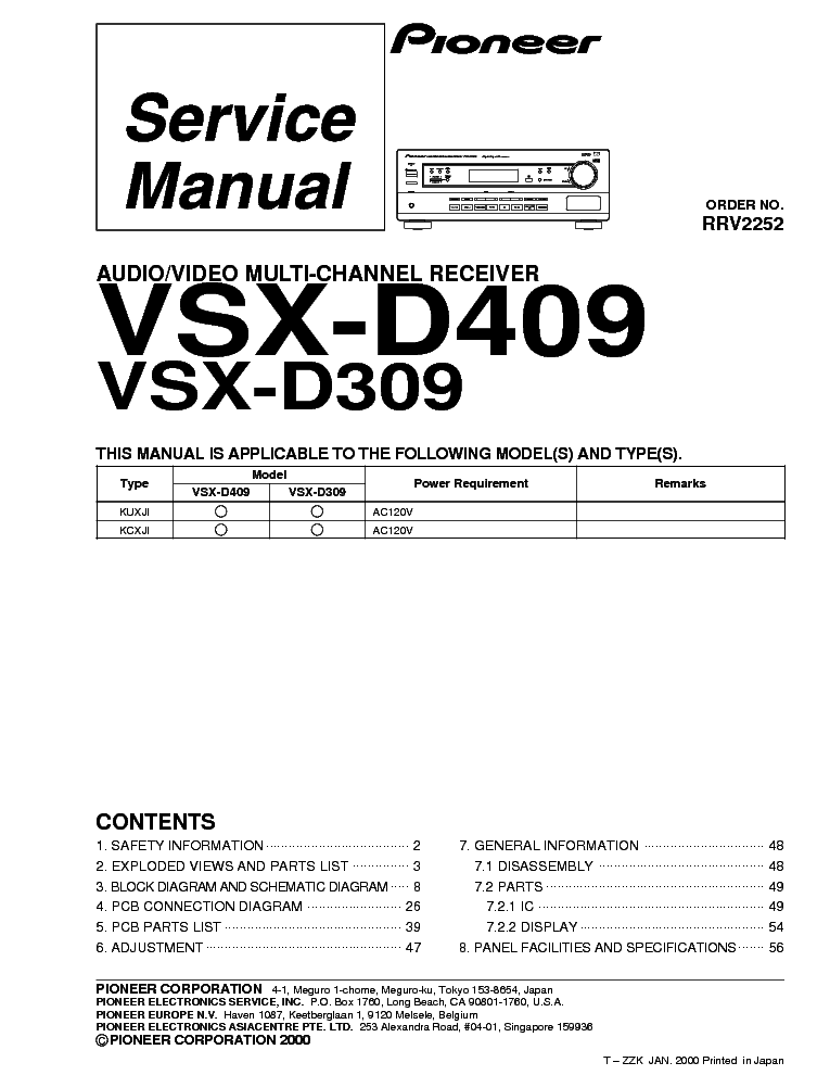 pioneer vsx d309 d409 sm service manual download schematics eeprom rh elektrotanya com manual do pioneer 309 Pro-Form 955R Recumbent Bike Manual