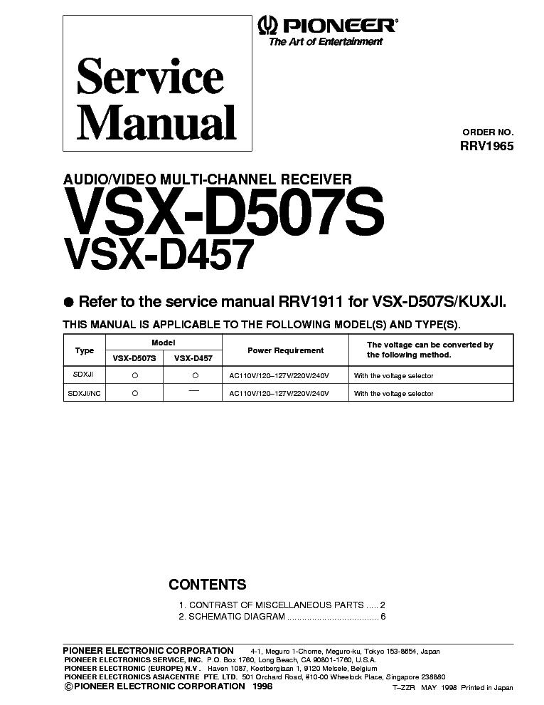 Pioneer Vsx D457 Vsx D507s Sm Service Manual Download Schematics