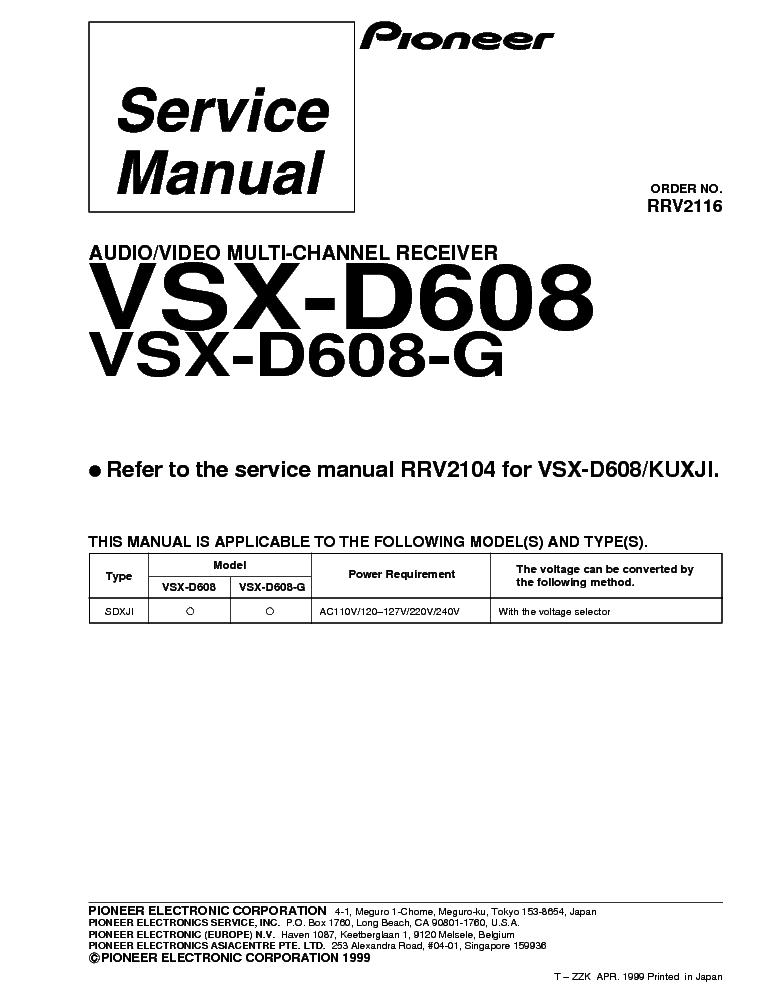 Pioneer Vsx D608 Manual Pdf At Manuals Library Manual Guide
