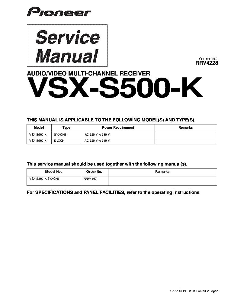 pioneer vsx s500 k av multi channel receiver rrv4228 sch service rh elektrotanya com Pioneer VSX 1123 Pioneer VSX- 820