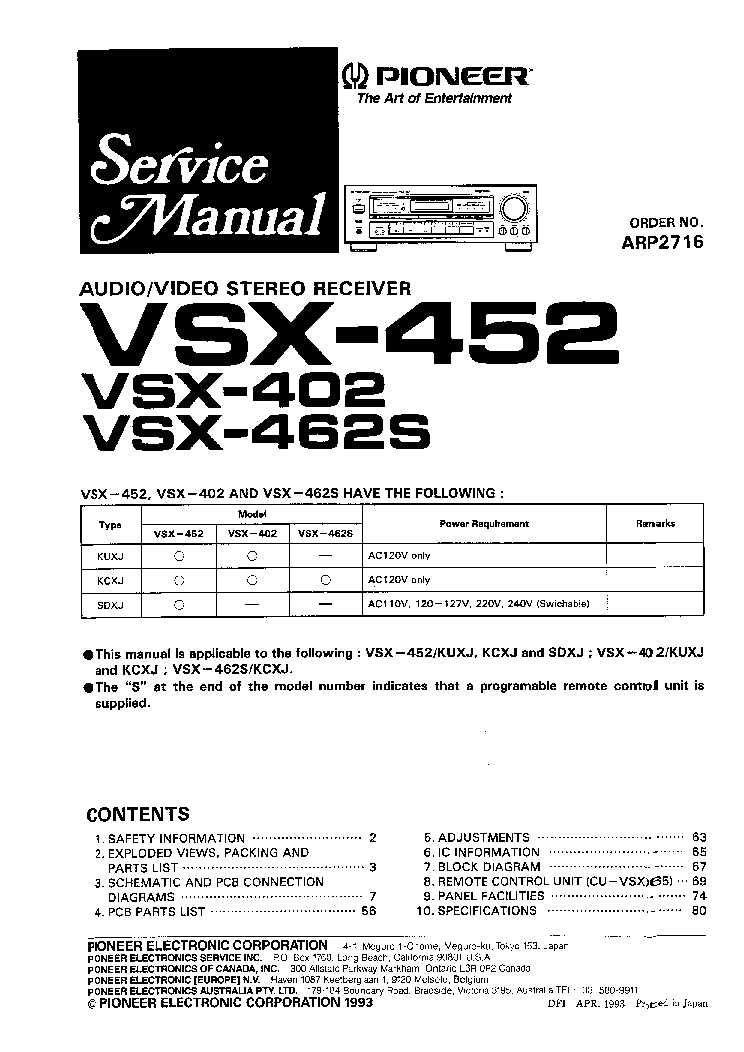 pioneer vsx452 sm service manual download  schematics  eeprom  repair info for electronics experts