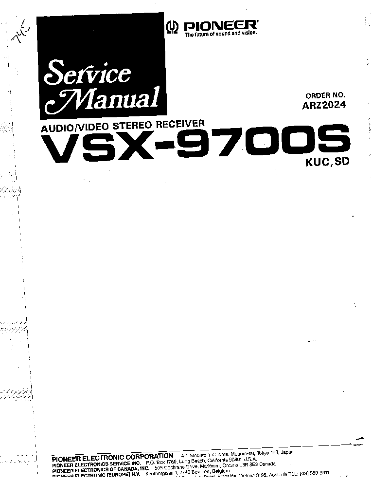 Pioneer VSX-917V Operating Instructions Manual