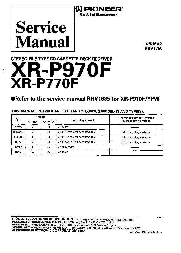 pioneer xr p770f xr p970f rrv1750 service manual download