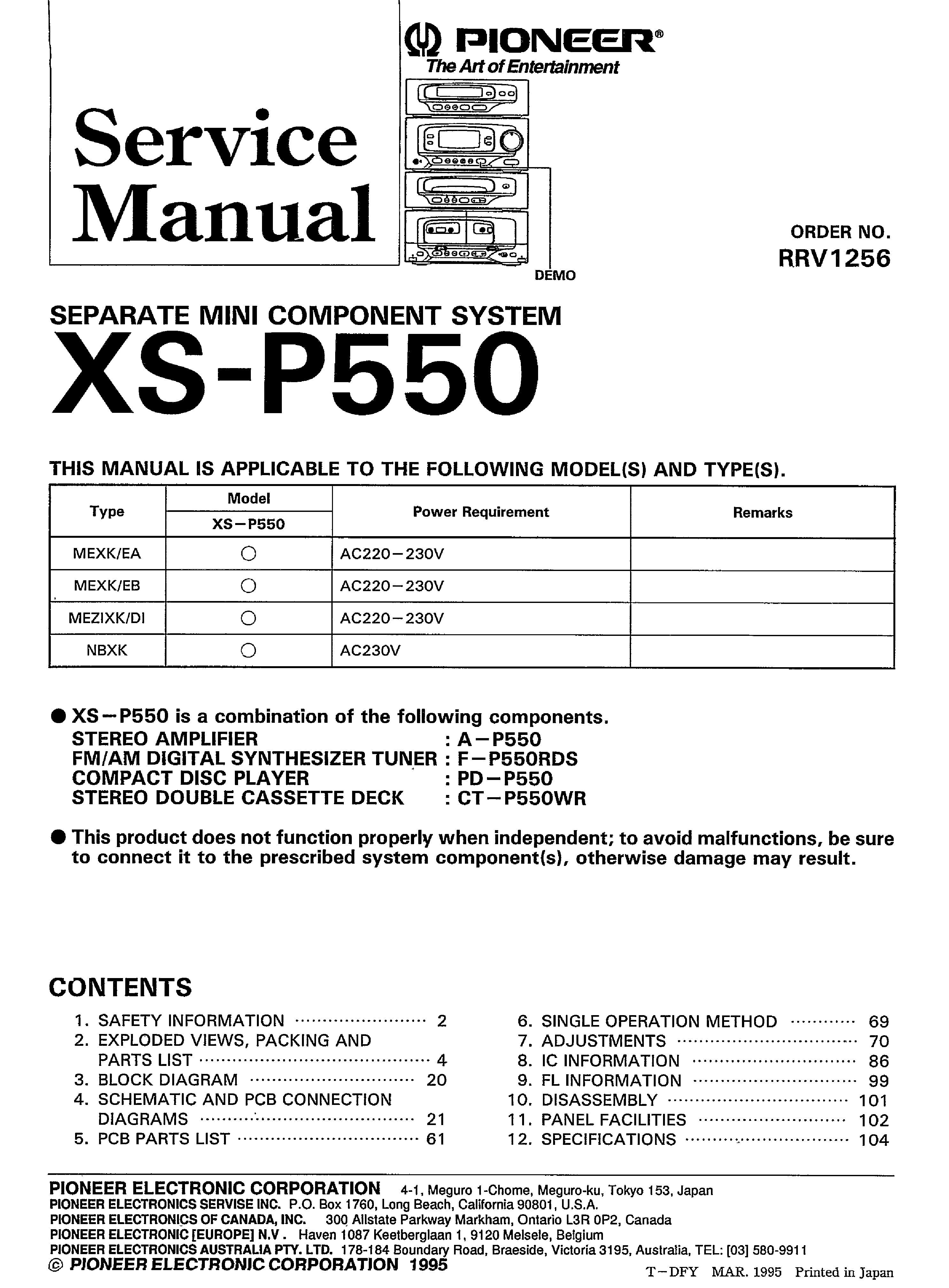 PIONEER XS-P550 service manual (1st page)