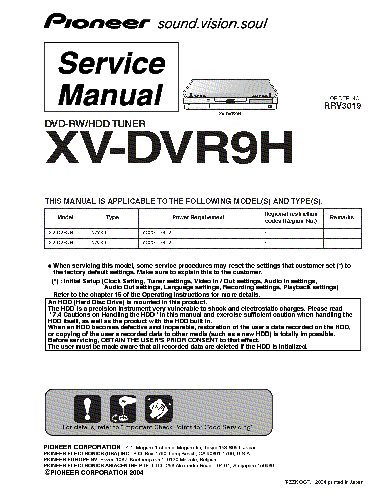 PIONEER XV-DVR9H SM service manual (1st page)