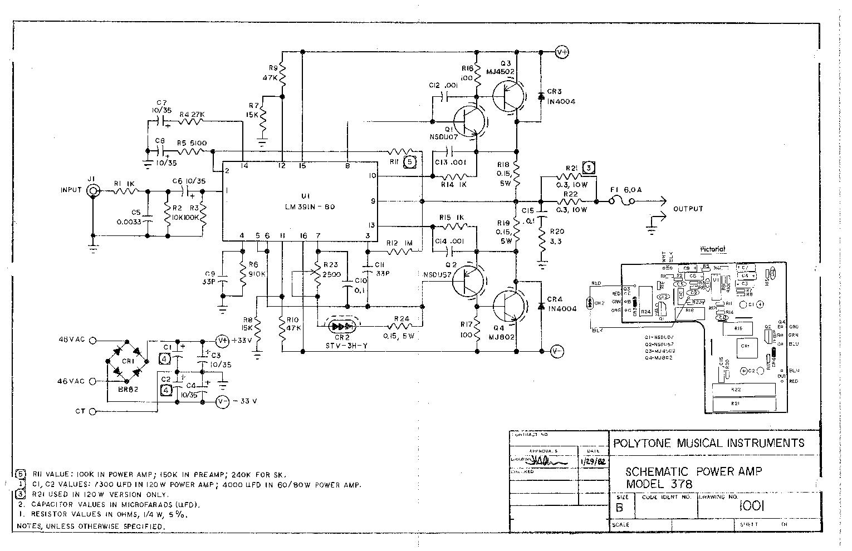 polytone 378 lm391 2n5880 5882 power amp sch service