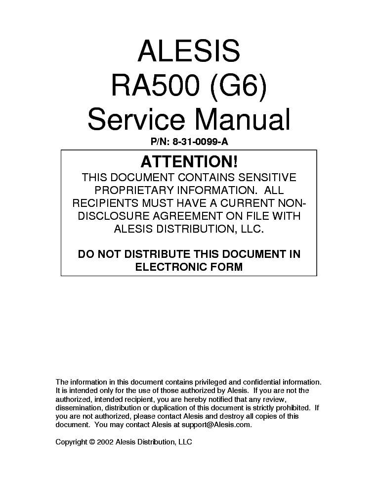 ALESIS RA500 service manual (1st page)