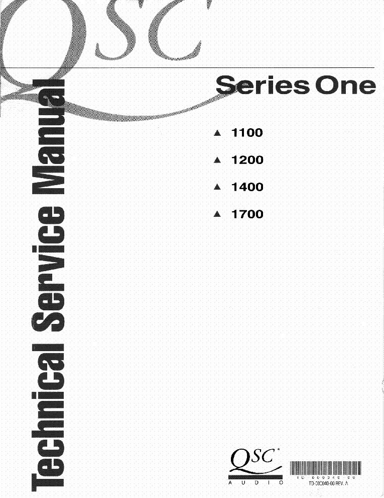 QSC 1100 1200 1400 1700 SERIES ONE service manual
