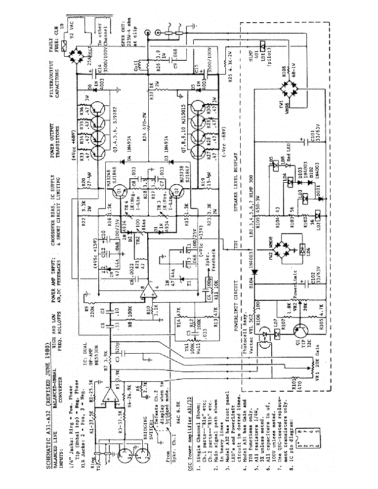 qsc_a31-32.pdf_1 Qsc Plx Schematic Diagram on isa 300ti, pl340 power supply, gx 3 amplifier, k-12 ksub, 1400 power amp, k10 speaker, usa 900 amplifier,