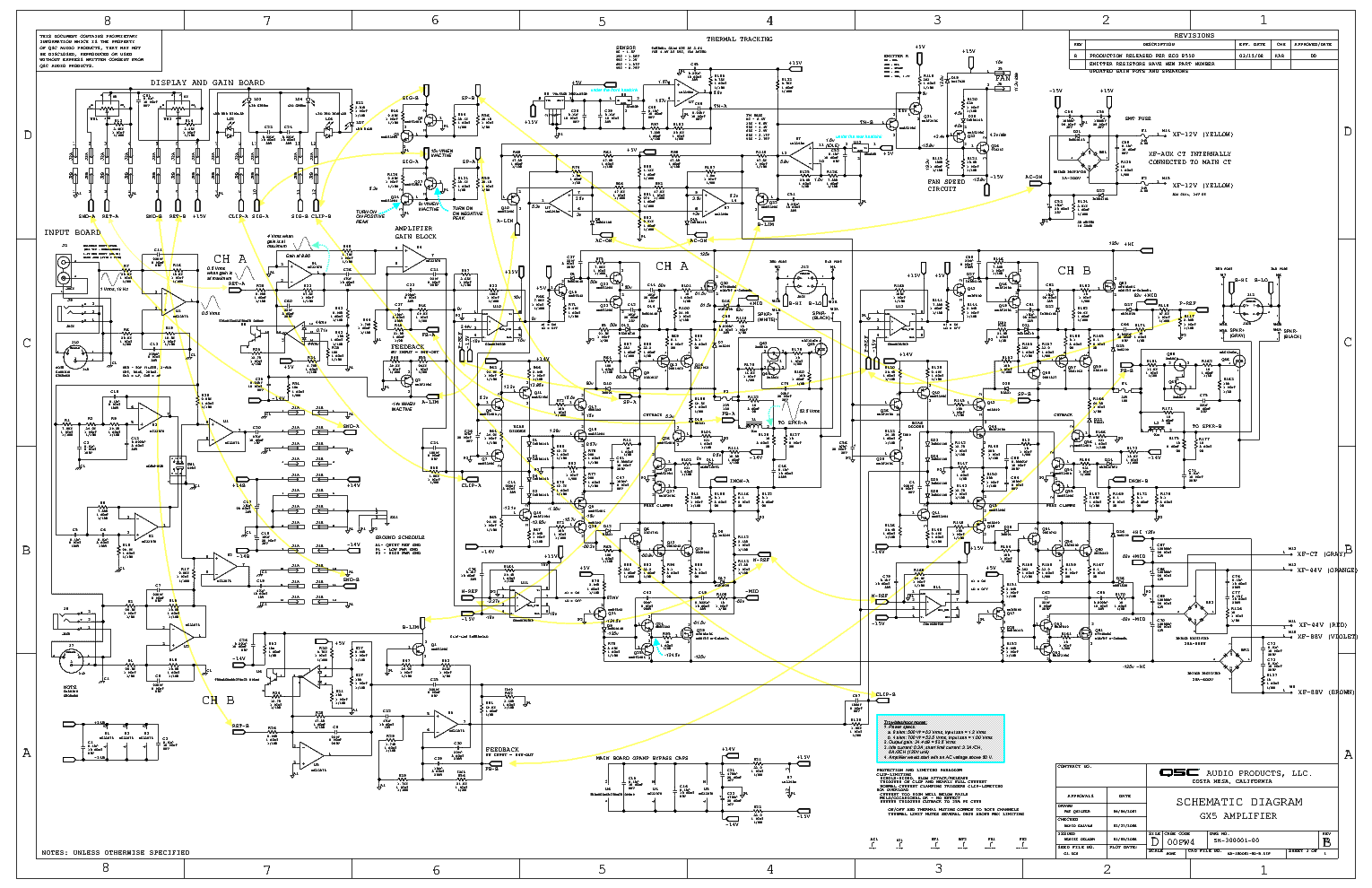 qsc_gx5_sh_ts_sch.pdf_1 Qsc Plx Schematic Diagram on isa 300ti, pl340 power supply, gx 3 amplifier, k-12 ksub, 1400 power amp, k10 speaker, usa 900 amplifier,