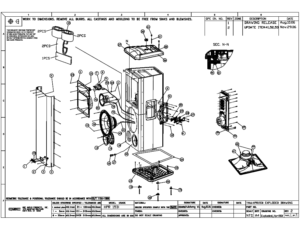 qsc_hpr153i_exploded_sch.pdf_1 Qsc Plx Schematic Diagram on isa 300ti, pl340 power supply, gx 3 amplifier, k-12 ksub, 1400 power amp, k10 speaker, usa 900 amplifier,