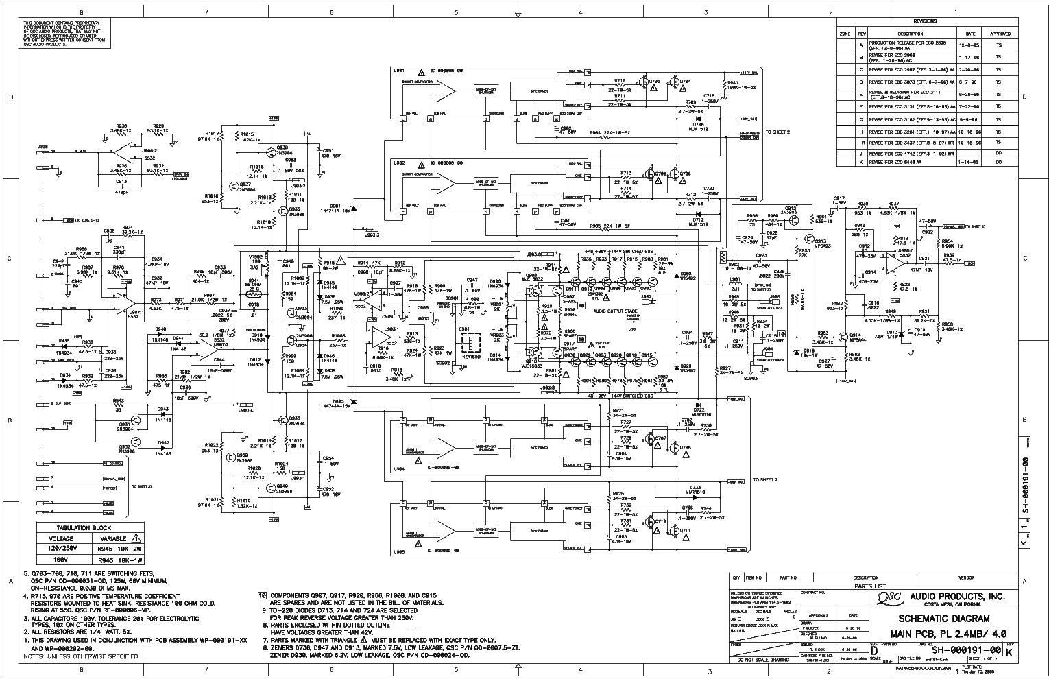 qsc_pl38x.pdf_1 Qsc Plx Schematic Diagram on isa 300ti, pl340 power supply, gx 3 amplifier, k-12 ksub, 1400 power amp, k10 speaker, usa 900 amplifier,