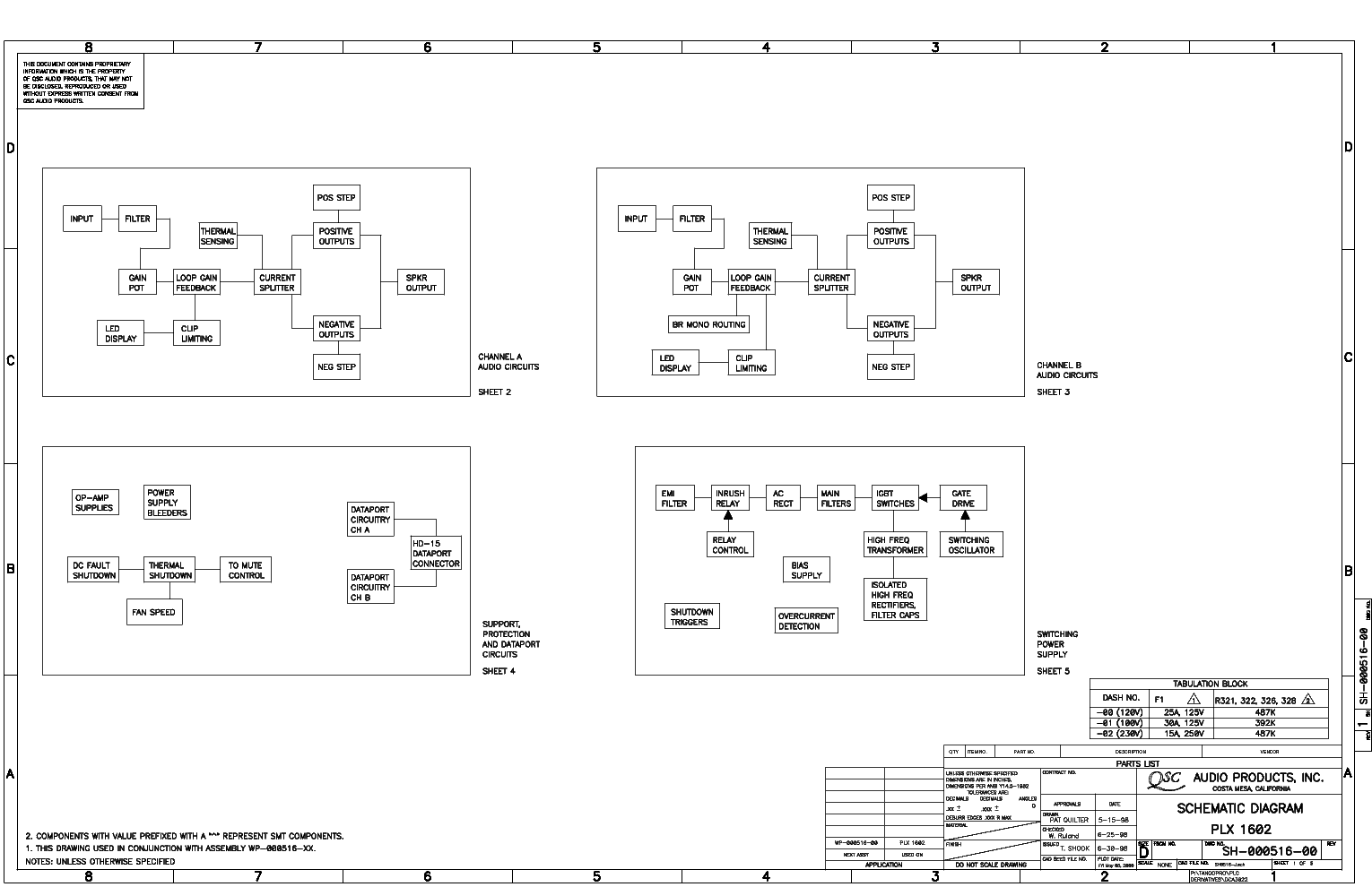 qsc_plx1602.pdf_1 Qsc Plx Schematic Diagram on isa 300ti, pl340 power supply, gx 3 amplifier, k-12 ksub, 1400 power amp, k10 speaker, usa 900 amplifier,