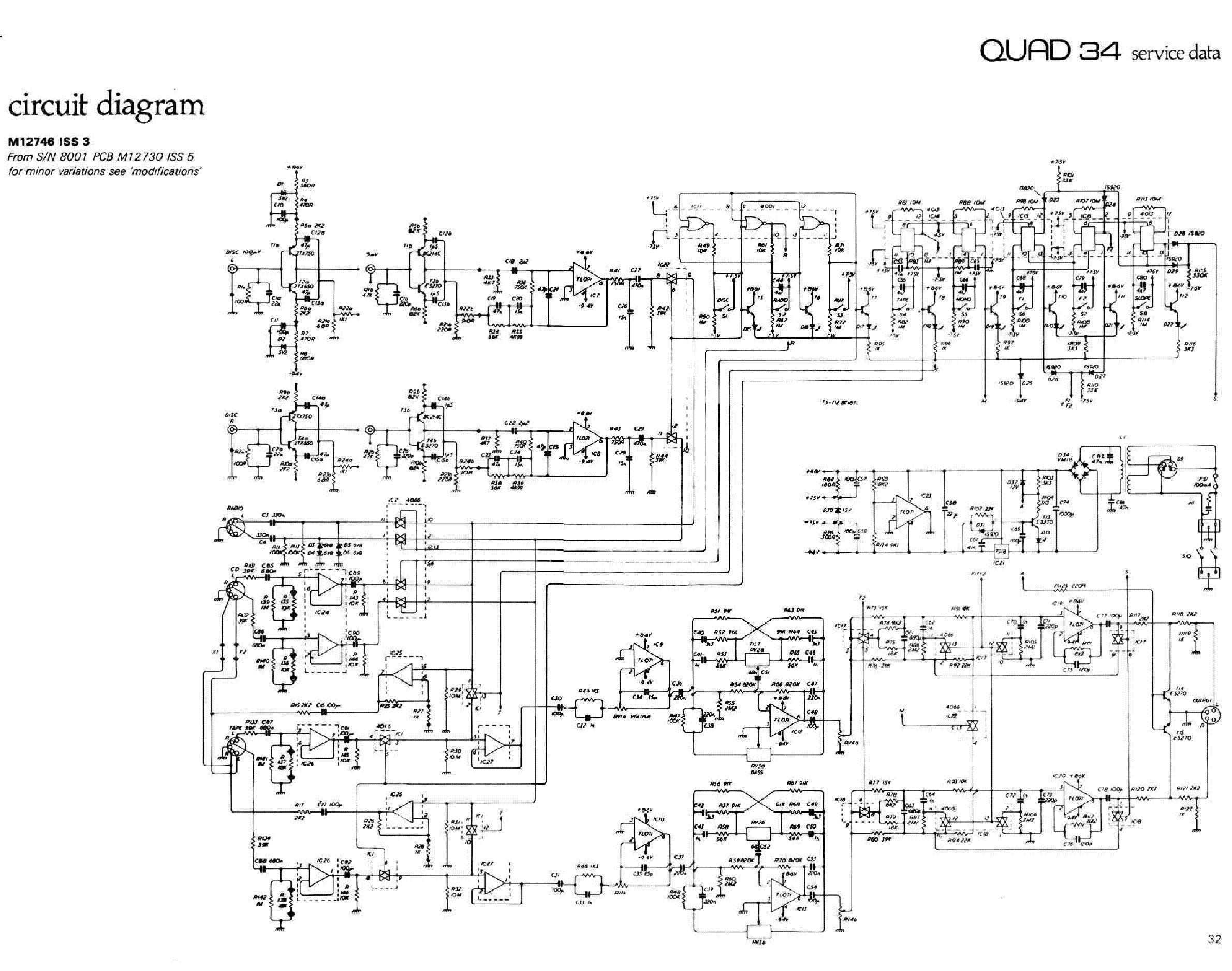 QUAD 33 AMPLIFIER SCH Service Manual download, schematics ... Quad Schematic on
