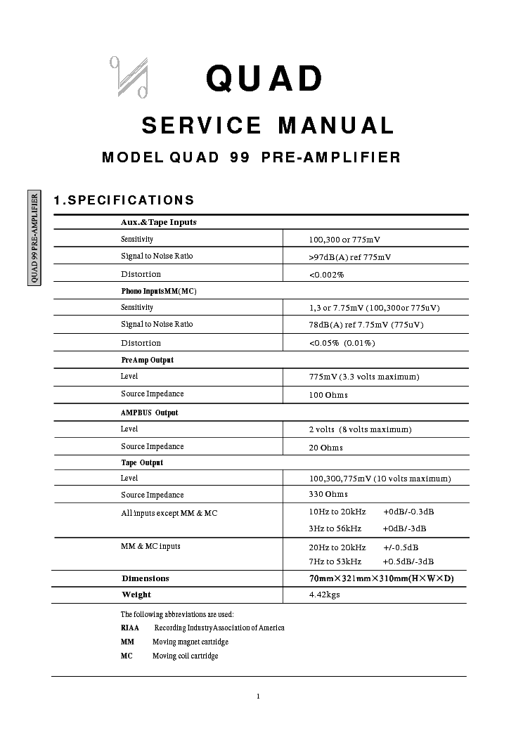 quad 99 preamplifier service manual download schematics eeprom rh elektrotanya com Tuner Quad 405 Quad Upgrades