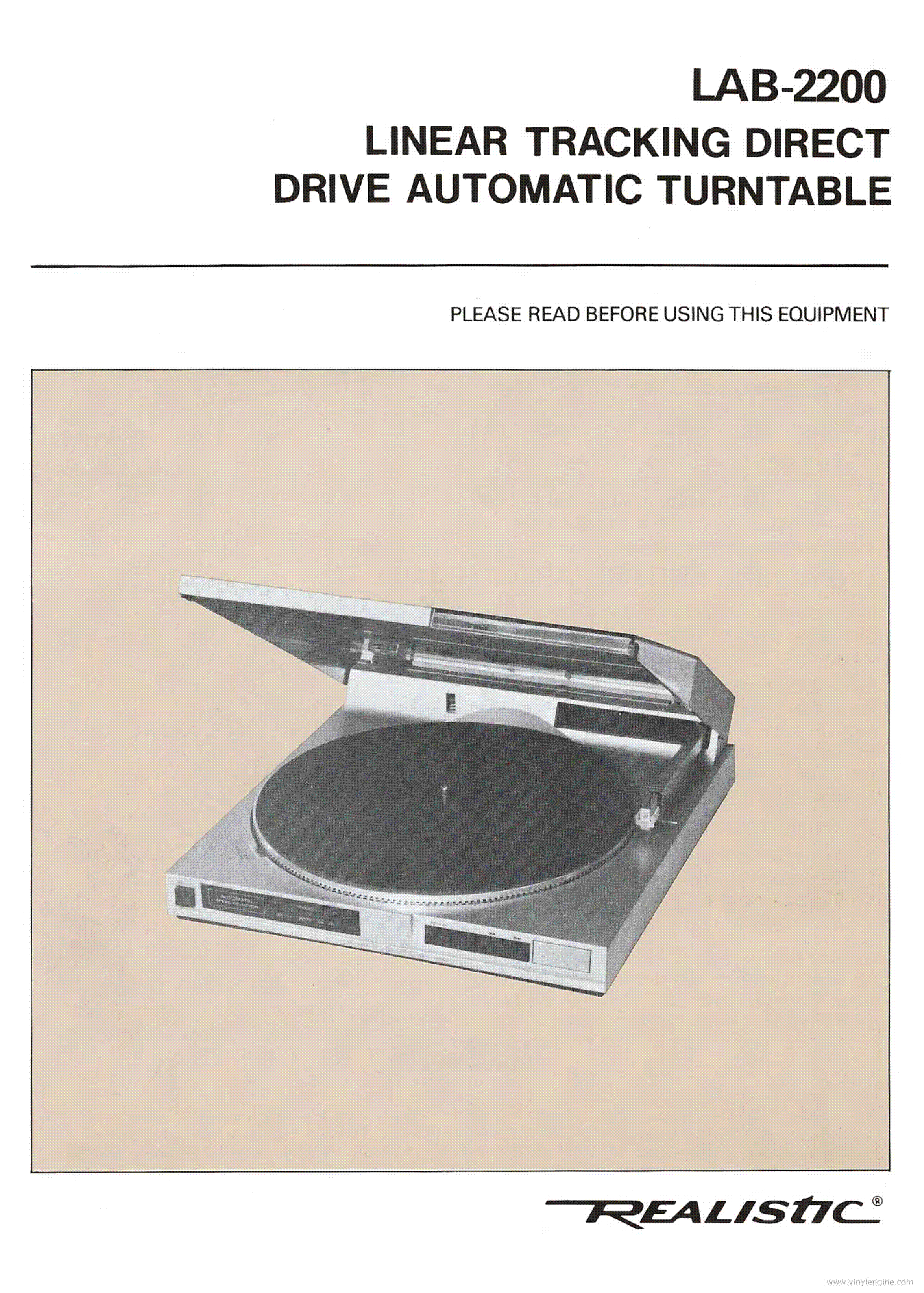 manual for realistic lab 440 turntable