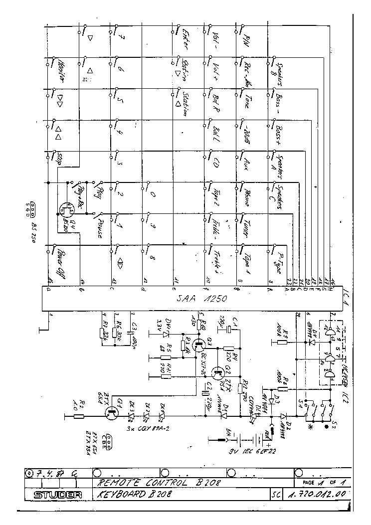 STUDER REVOX B-208 REMOTE CONTROL 1987 SCH Service Manual download on engine control schematic, laser schematic, keyboard schematic, control panel schematic, water control schematic, motor schematic, cruise control schematic,