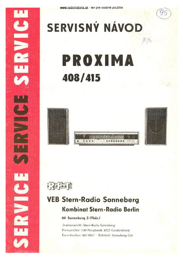 RFT PROXIMA 408 415 SM service manual (1st page)