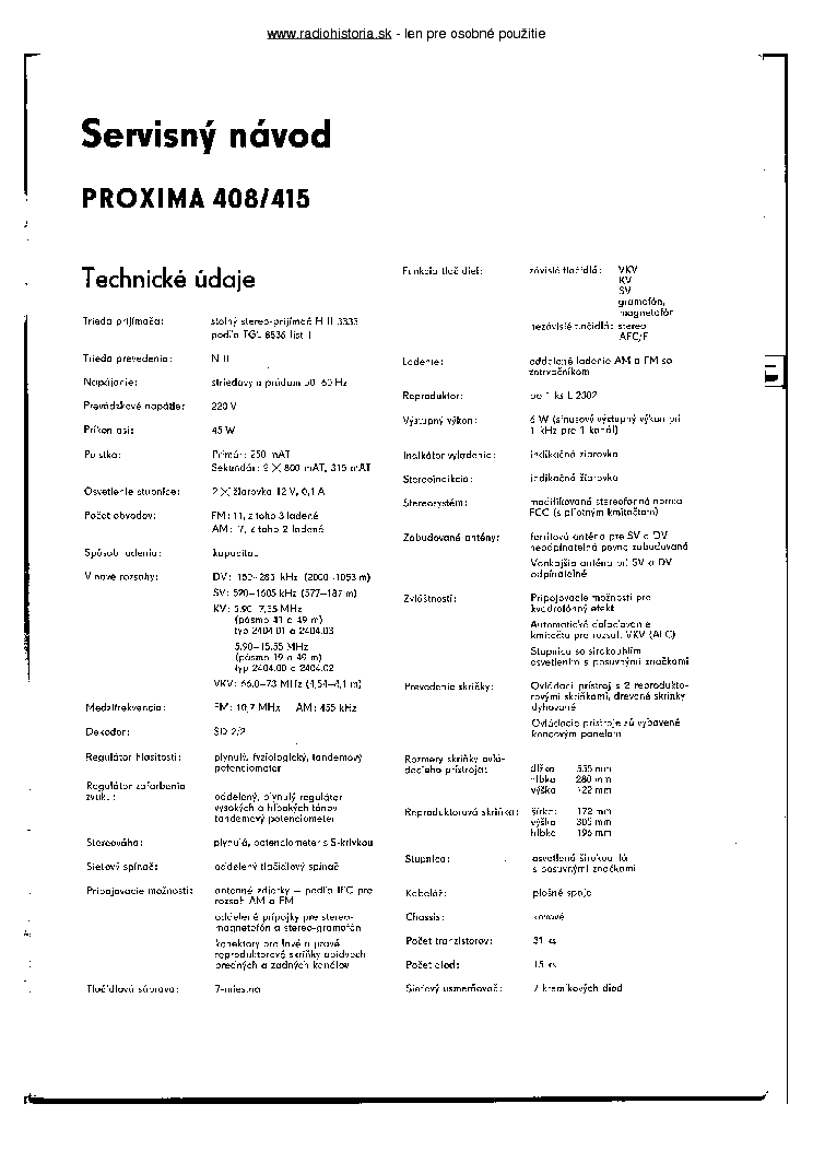 RFT PROXIMA 408 415 SM service manual (2nd page)