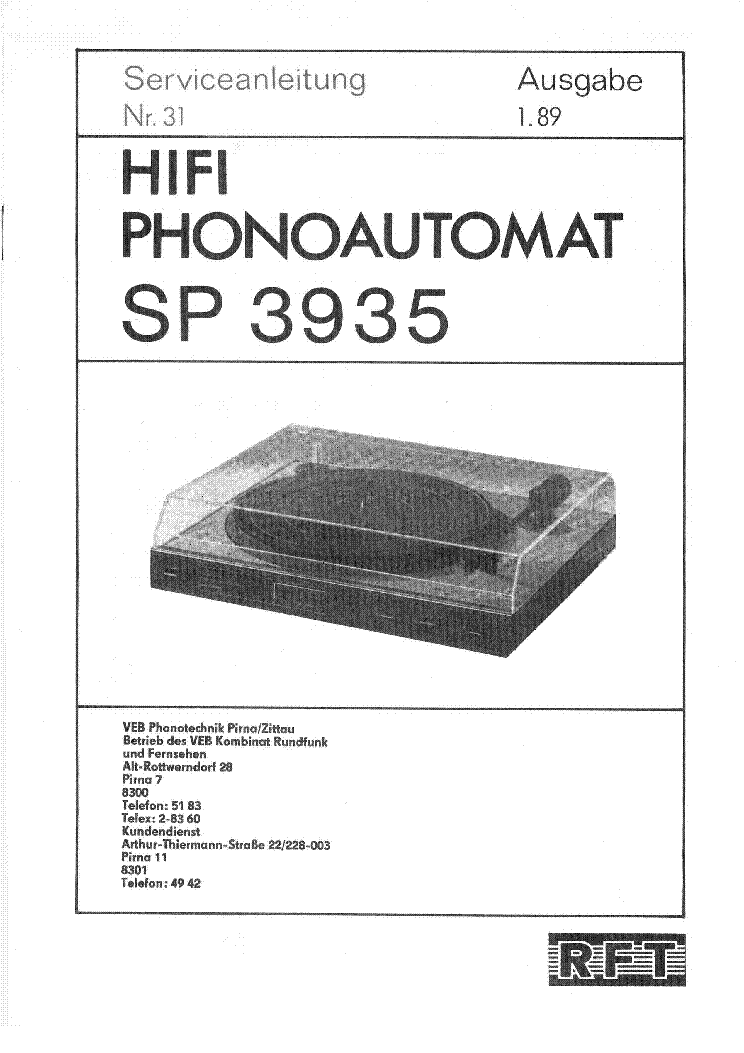RFT RES SP-3935 HIFI PHONOAUTOMAT 1989 SM.PDF service manual (1st page)