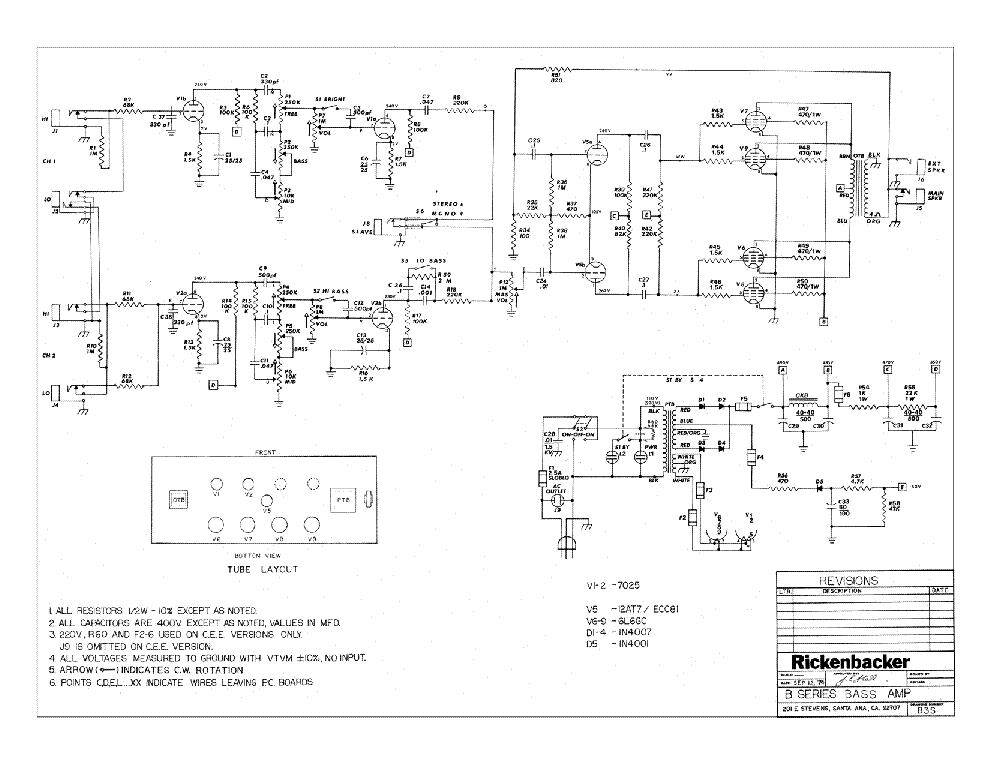 Rickenbacker B Series Bass Amp Sch Service Manual Download