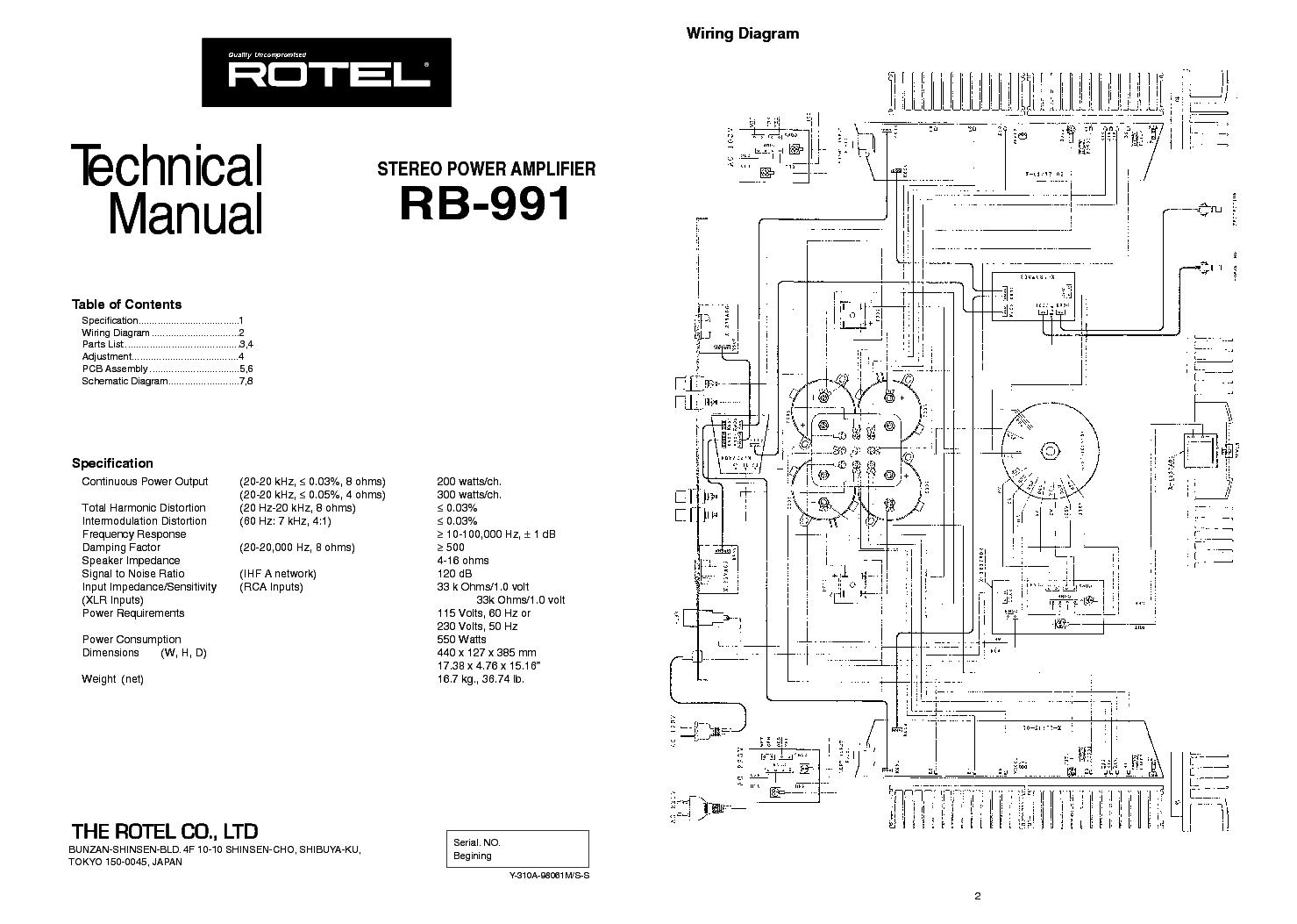 Схема и документация усилителя Rotel RB 991.