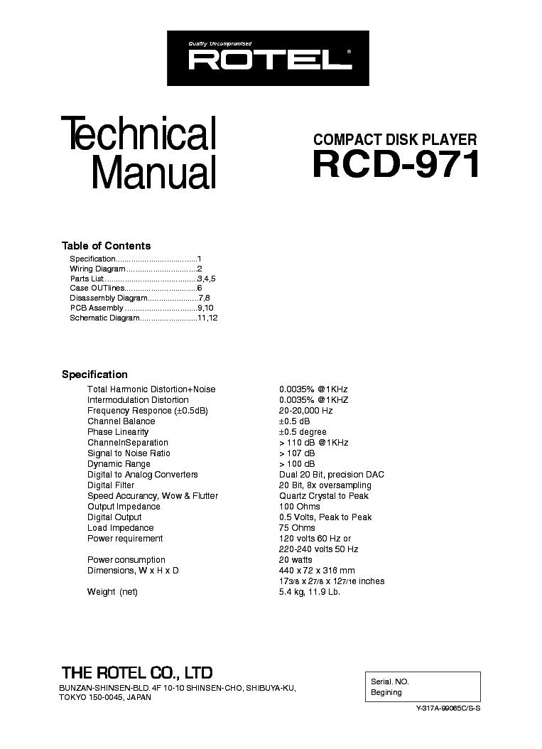 Rotel Rx 500 500sl Service Manual Download Schematics Eeprom Rcd Wiring Diagram