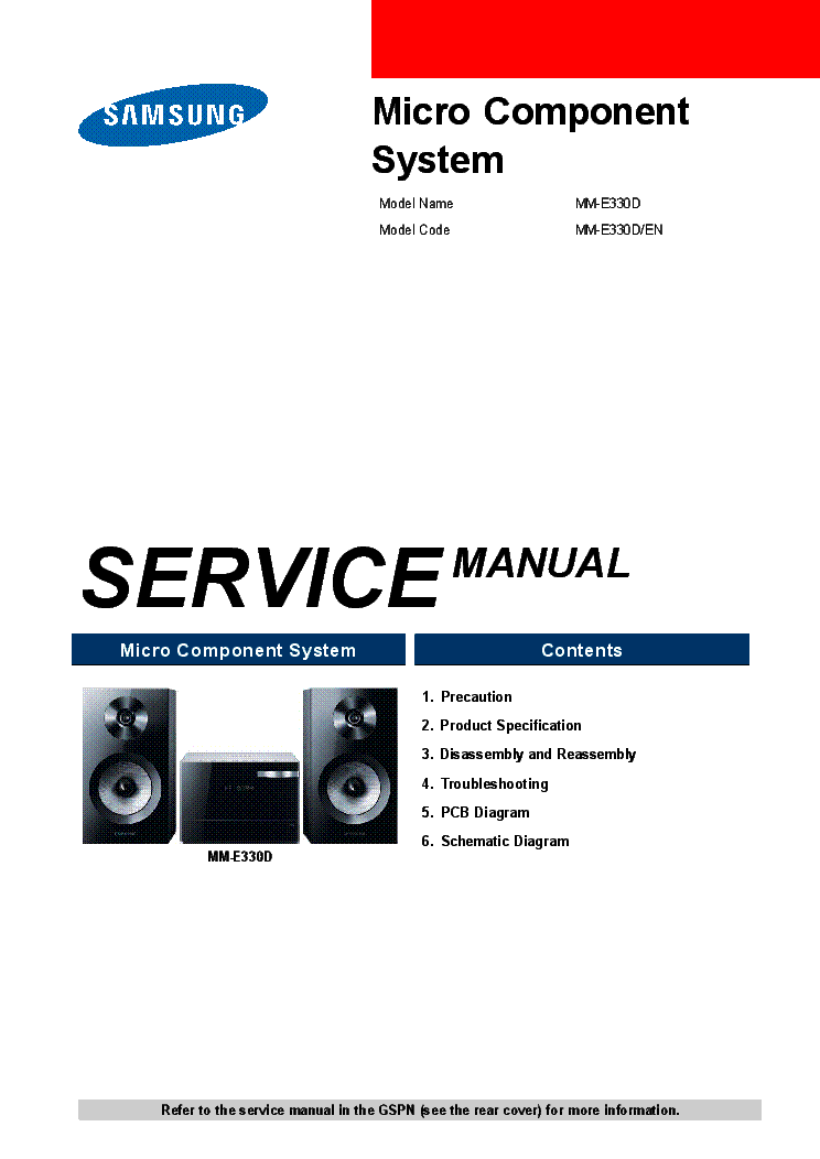 List of SAMSUNG User and Service Manuals starting