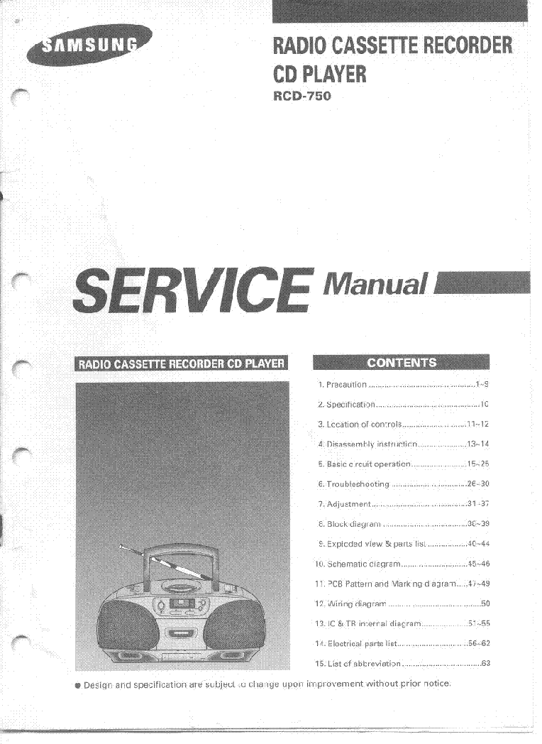 Samsung Rcd 750 Service Manual Download Schematics Eeprom Repair Wiring Diagram 1st Page