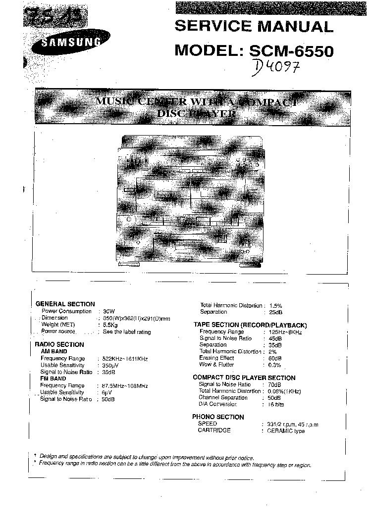 SAMSUNG SCM-6550 SM Service Manual download, schematics