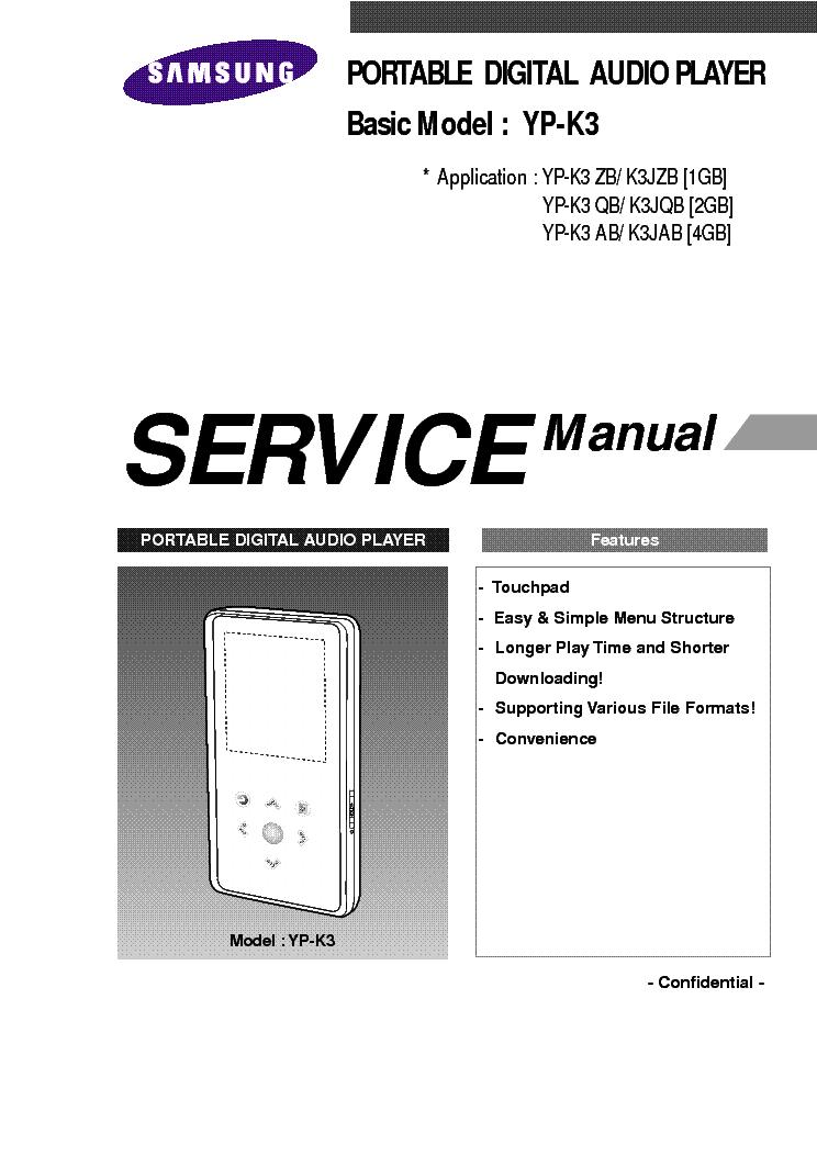 Samsung yp-k3 service manual download, schematics, eeprom, repair.