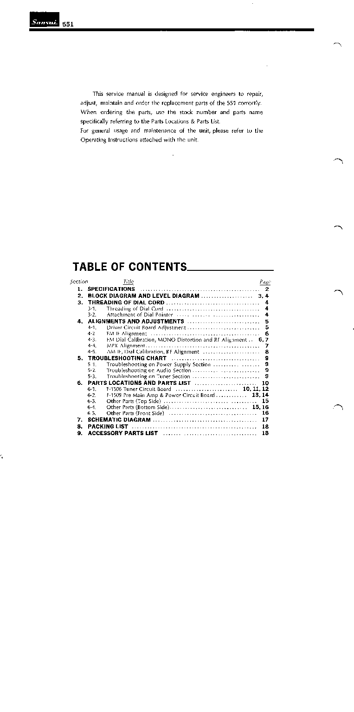 SANSUI 551 SM Service Manual download, schematics, eeprom