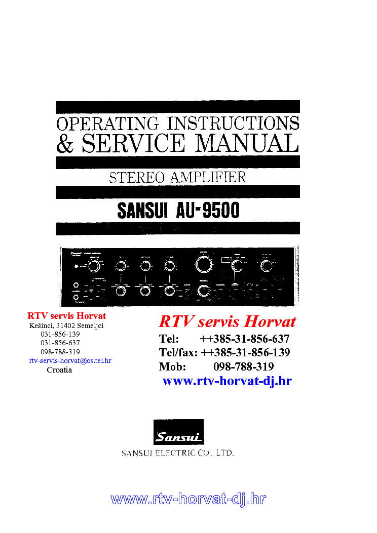 Sansui au-9500 int st amp operating instructions and service.