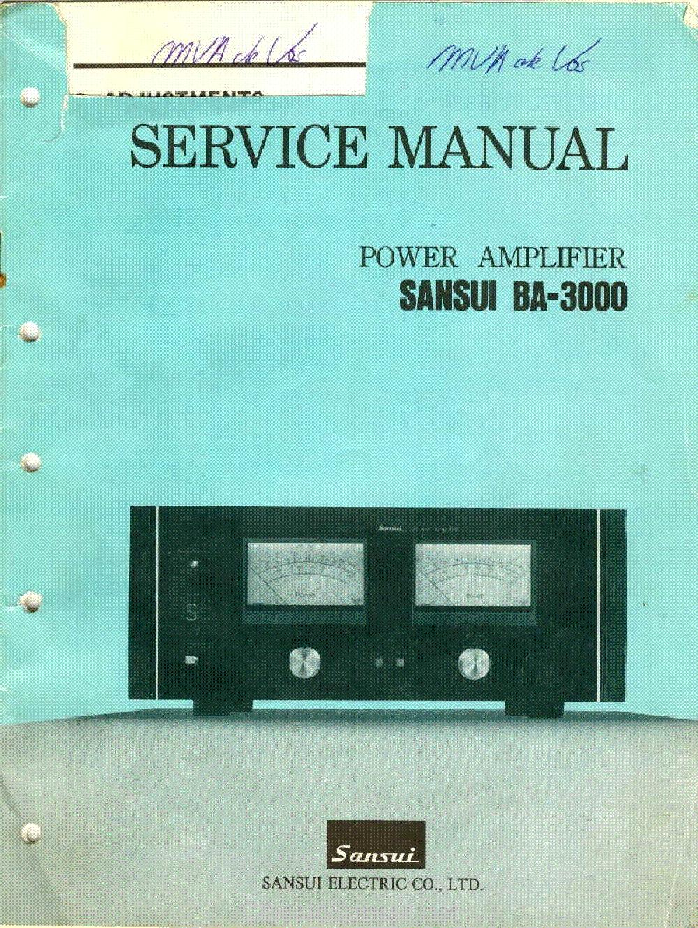 SANSUI BA-3000 POWER AMPLIFIER Service Manual download, schematics