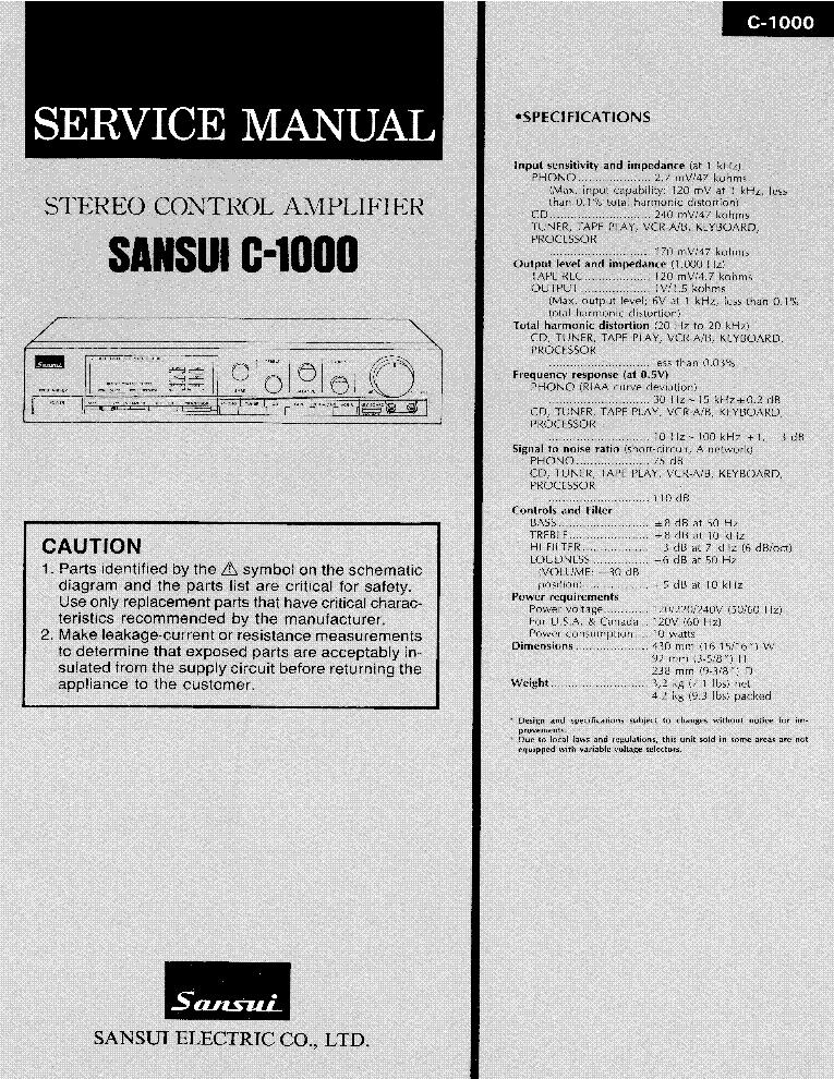sansui c 1000 stereo amplifier service manual download schematics rh elektrotanya com Sansui 1000A Review Sansui 2000A