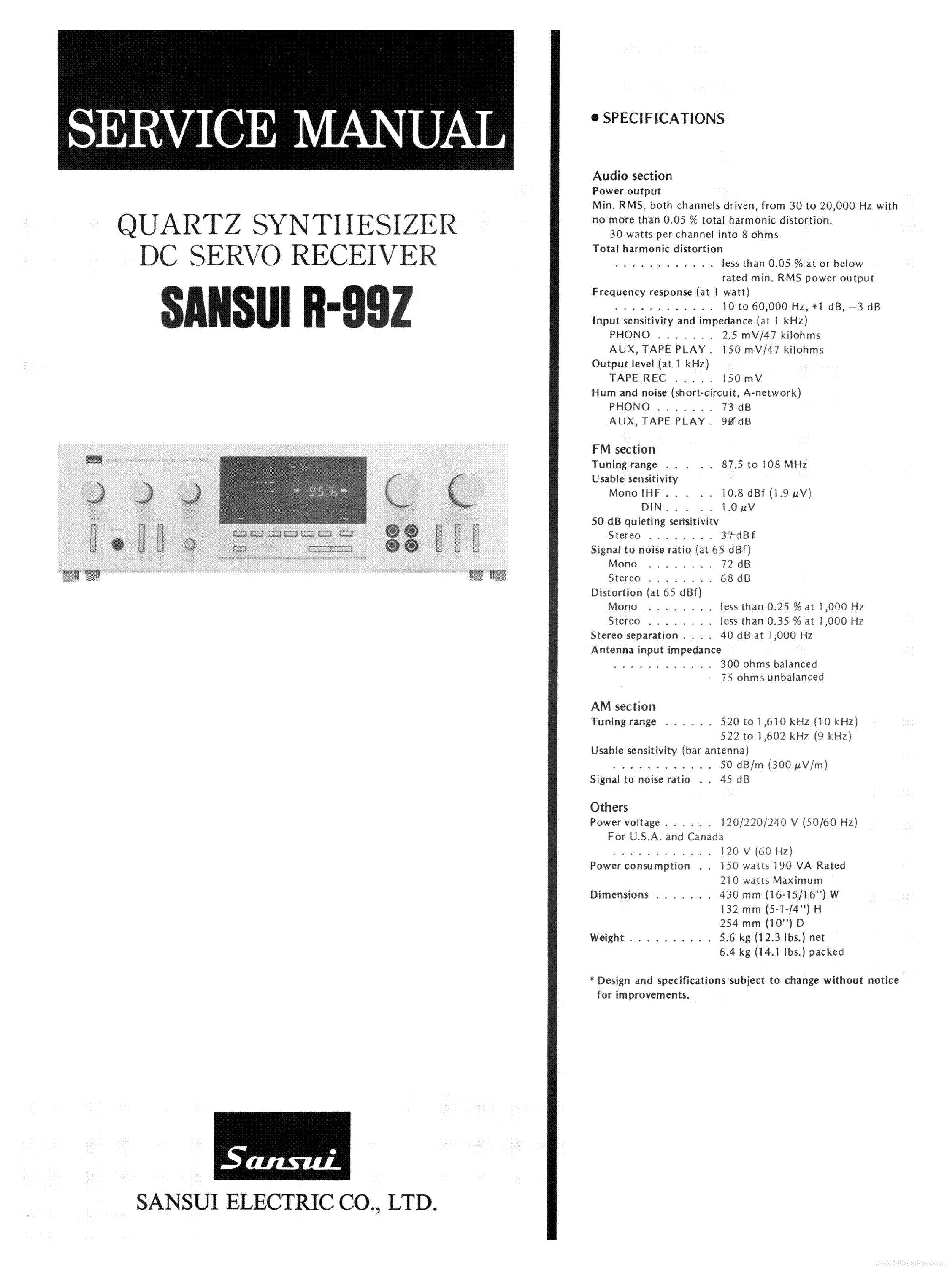 SANSUI R-99Z service manual (1st page)
