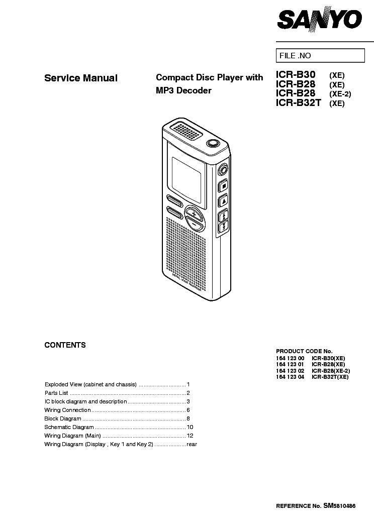 SANYO ICR-B28-B30-B32 SM Service Manual download, schematics, eeprom