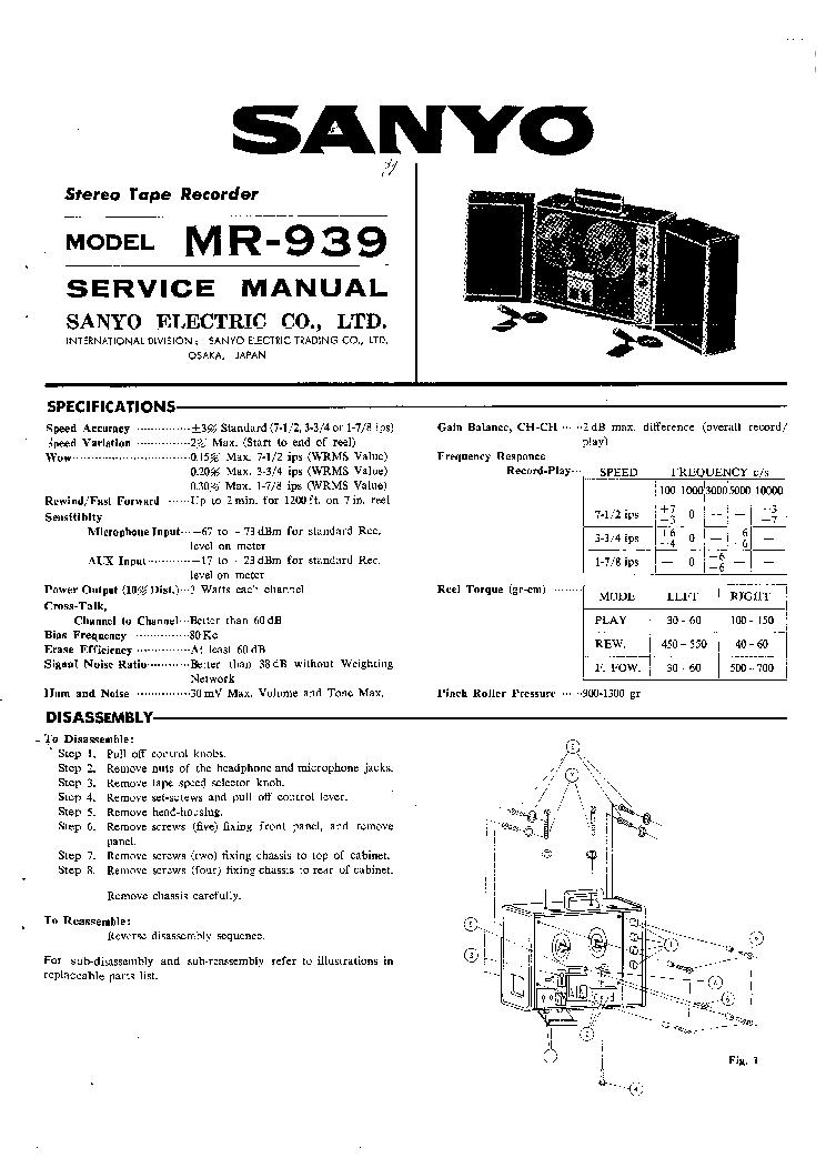 SANYO MR-939 SM Service Manual download, schematics, eeprom, repair